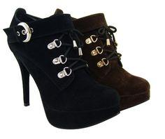 Women's High Heel Ankle Platform Buckle Boots Shoes Faux Suede 2 Colors