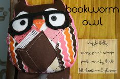 Bookworm Owl Soft Toy. $20.00, via Etsy. Hello cuteness!!