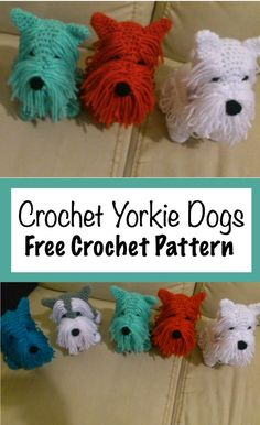 Free Crochet Yorkie Dog Pattern With Video - Amigurumi Free Patterns Crochet Easter, Cute Crochet, Crochet For Kids, Crochet Food, Crochet Things, Knit Or Crochet, Chrochet, Yorkie, Crochet Dog Patterns