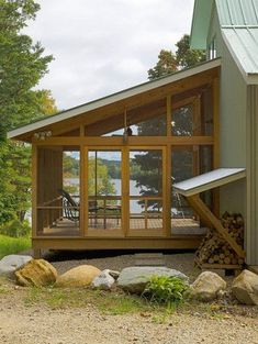 Screen Porch Kits with Rustic Porch and Deck Exposed Beams Exterior Lighting Hemlock Lake View Outdoor Furniture Screen Porch Screened in Porch Sloped Roof Wood Screened Porch Designs, Screened In Deck, Back Porch Designs, Screened Porch Decorating, Screened Porches, Porch Kits, Patio Steps, Porch Roof, Front Porch