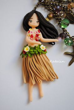 Hawaiian girl chibi polymer clay FIMO