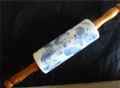 Vintage Hand-Painted Ceramic Rolling Pin Blue & White Butterflies Signed BDJ