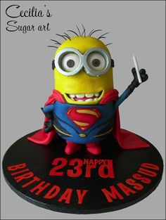 This Despicable Me Cake features a Minion dressed as Superman. Minion Birthday, Minion Party, Birthday Cakes, Superman Birthday, 3rd Birthday, Bolo Minion, Minion Cakes, Fancy Cakes, Cute Cakes