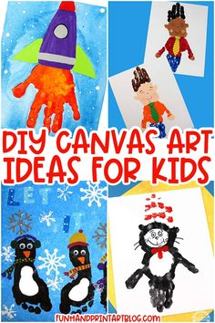 Huge list of canvas art projects kids can make for gifts, wall decor, holidays, keepsakes & more. These kids canvas paintings feature ideas made with little hands and feet! Canvas Art Projects, Kids Canvas Art, Craft Projects For Kids, Fun Activities For Kids, Fun Crafts For Kids, Arts And Crafts Projects, Diy Canvas, Art For Kids, Diy Projects