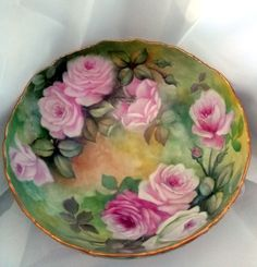 Porcelain T&V Limoges Punch Bowl Gorgeous Pink and Yellow Rose Pedestal Bowl