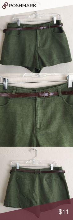Green belted shorts Cute green shorts with brown belt. Size large Forever 21 Shorts