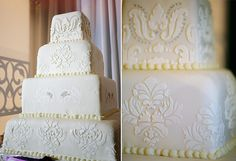 An all-white cake featuring royal damask pattern to showcase the wedding's recurrent visual theme. White Cakes, White Wedding Cakes, Gum Paste Flowers, All White, Dessert Table, Damask, Fondant, Decorative Boxes, Delicate