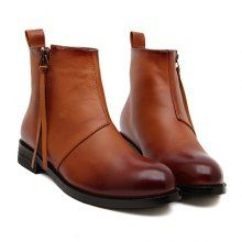Fashionable Zip and PU Leather Design Women's Boots