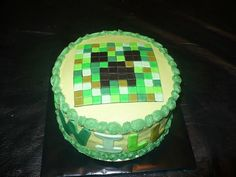 Creeper from Mine Craft cake- created by Twisted Sister Cakes...www.twistedsistercakes.com