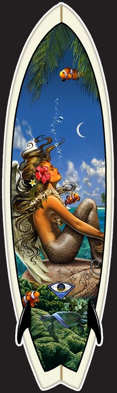 Showcase of surf art by Californian surf artist Rick Rietveld on Club Of The Waves Surf Mar, Posca Art, Tiki Art, Dragons, Hawaiian Art, Surfboard Art, Mermaids And Mermen, Fantasy Mermaids, Mystique