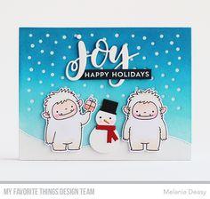 Stamps: Snow Globe Sentiments, BB Beast Friends Die-namics: Scenic Snow Globe, Joy, Hit the Slopes, BB Beast Friends  Melania Deasy #mftstamps