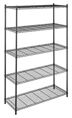 Whitmor Supreme 5 Tier Adjustable Shelving - 500 Pound Weight Capacity Per Shelf - Leveling Feet Steel Shelving, Wire Shelving Units, Metal Shelves, Wire Shelving, Storage Shelves, Shelving, Organizing Wires, Adjustable Shelving, Shelving Racks