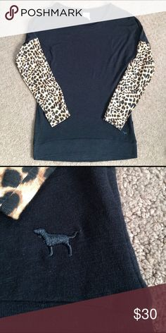 Victoria secret PINK leopard top Worn once great condition. Leopard sleeves all black body. PINK Victoria's Secret Tops Tees - Long Sleeve