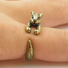 Chipmunk / Squirrel Animal Wrap Ring - Gold