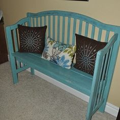 Turn a Crib into a Bench Tutorial   If you want to keep your crib for sentimental reasons, but it takes up too much space why not turn it into a bench?