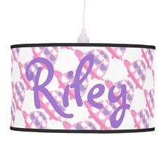 Purple & Pink Mod Turtle Print Lamp