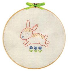 This precious little Bunny kit is the perfect project for your little ones room.  It is also the perfect project for a beginner to learn surface embroidery.  The kit is complete with all supplies needed to create this sweet bunny from start to finish.  Everything you need to embroider both a pink and a blue bunny is included!