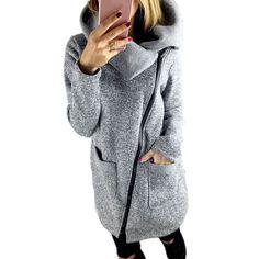 20% СКИДКА 2018 модная повседневная куртка с капюшоном большого размера  Женская Осенняя Толстая Длинная толстовка на молнии Верхняя одежда Куртки  женские ... 117d9c34a39