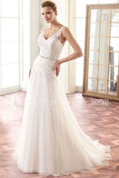 5f6dbfe6082 A-Line Floor-Length Sleeveless Appliqued V-Neck Lace Wedding Dress With  Pleats And Waist Jewellery