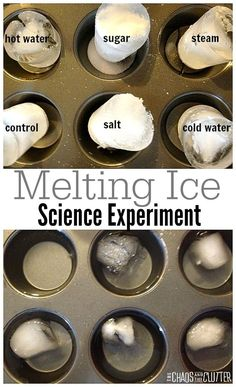 This melting ice science experiment is perfect for science fairs.