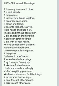 Abc of marriage!