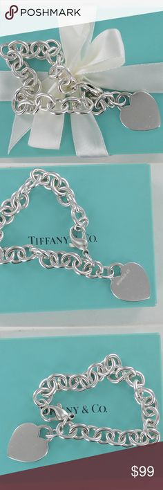 """Vintage Tiffany Co Silver PLAIN Heart Tag Bracelet PRICE IS FIRM-sold AS IS  Vintage c.1995 Tiffany & Co. Sterling Silver Plain Heart Tag Bracelet Length: longer than most. Measures 8"""" long Gently used. One side free for monogram or initial.  PLEASE NOTE: The spring on the lobster clasp is broken. The lock itself is fully functional and will keep the bracelet secure when worn. Priced to sell and a great way to own a classic Tiffany charm bracelet at an affordable price. Tiffany & Co. Jewelry…"""