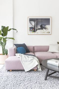 Hawley sofa from our Staple&Co Collection  Pink sofa, living room  #pinksofa #feltsofa #pinklounge #pinkcouch  #moodyinteriors  #designerfurniture #mancave  #minimal #loungeroom #interiordesign #loungeroom #livingroom #corporateinteriors #commercialinteriors #designerfurniture #fabricsofa #australianmadefurniture #madeinsydney #cameronfoggo #livingroomfurniture #greystyle #greystyling #minimaldesign