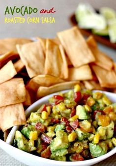 Fresh avocado mixed with corn, tomatoes and lime - perfect for dipping!