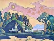 """Krishna-Lel 1932 Nicholas Roerich """"The spirit is perfect only when it is conscious of the Cosmos. Tibet, Nicholas Roerich, Russian Painting, Ukrainian Art, Color Pencil Art, Hindu Art, Art Day, Krishna, Les Oeuvres"""