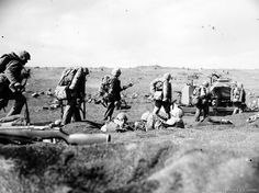 Scene from foxhole on beach green, taken at dusk D-Day. Iwo Jima - February 20, 1945