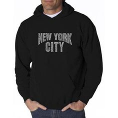 Los Angeles Pop Art Men's Hooded Sweatshirt - NYC Neighborhoods, Size: Medium, Black