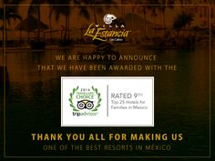 We are happy to announce that we have been awarded with the 2014 Travelers Choice Award! Rated Top 25 Hotels for families in Mexico   Thank you all for making us The Best Resort in Mexico!   ‪#‎TravelersChoiceAward‬ ‪#‎Mexico‬ ‪#‎LosCabos‬ ‪#‎TripAdvisor‬