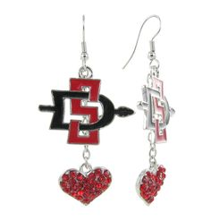 Red and Black SDSU Lovers Fish Hook Earrings with Red Crystal Hearts