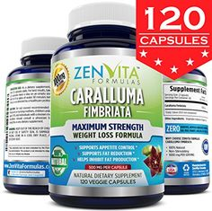 Pure Caralluma Fimbriata Extract 1000 mg - 120 Capsules, 10:1 Extract from Whole Cactus Plant, 1000 mg Per Serving Maximum Strength Natural Weight Loss Supplement, Appetite Suppressant, Fat Burner, Carb Blocker. 100% Money Back Guarantee! No Risk - Lose Weight or Your Money Back by ZenVita Formulas -- Check out this great product.