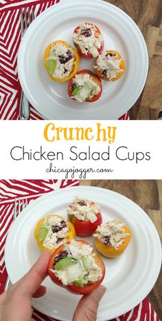 Crunchy Chicken Salad Cups, served in mini bell peppers. An easy, healthy appetizer recipe!   chicagojogger.com