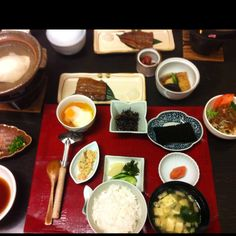 Typical breakfast at Japanese inn 旅館の朝ごはん
