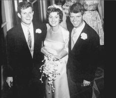 Robert and Ted Kennedy stand beside their sister Jean on her 1956 wedding day. ❤❁♛❤✾❤✾❤❁❤❃❤❁♛❤ ( Jean Ann Kennedy Smith (born February 20, 1928) http://en.wikipedia.org/wiki/Jean_Kennedy_Smith  http://en.wikipedia.org/wiki/Ted_Kennedy  http://en.wikipedia.org/wiki/Robert_F._Kennedy
