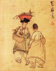 """신윤복, """"저잣길"""", 18-19세기, <여속도첩>, 비단에 엷은 색, 국립중앙박물관.   아낙은 매우 지친듯한 표정이다."""