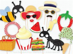 Picnic Party Photo Booth Props, Photobooth Props, Picnic Basket, Summer, Lemonade, Bumble Bee, Ant, Picnic Birthday, Watermelon, Ice Cream by PaperBuiltShop on Etsy https://www.etsy.com/listing/226996794/picnic-party-photo-booth-props