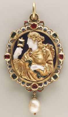 """Gold """"Prudence"""" amulet with chalcedony cameo, enamel, rubies, emeralds, and pearls, French, 1550-60. Enamel on reverse after a design by Charles Etienne Delaune (1518 or 1519–probably 1583)."""