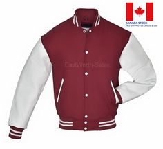 Exterior Body : Premium Quality Wool (rarely pill as compare to other woolen jackets available in market). The Classic Varsity Jacket WITH REMOVABLE LINER. Leather Sleeves, Leather Jacket, Team Jackets, Varsity Jackets, Ivy Style, Jacket Style, White Leather, Bomber Jacket, Menswear