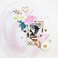 A layout created using the Flourish collection by Maggie Holmes/Crate Paper. #scrapbooking #papercraft #layout #design #creative #crafting #memorykeeping #cratepaper #flourish #maggieholmes #americancrafts