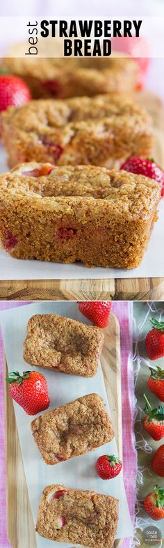 Fresh strawberries and cinnamon are the stars in this Easy Strawberry Bread. A great way to take advantage of strawberry season!: