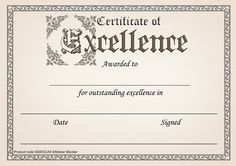 Reward progress and achievement with this 30 pack of dignified A5 Certificate of Excellence awards printed on 250gsm silk finish card and ready to personalise.