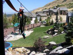 Zip line, 250' Zip line in the backyard, Zipline in the backyard in Utah, Landscaping in Utah, Utah, Landscaping, Custom Landscaping