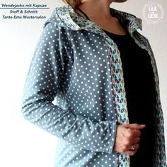 Wendejacke mit Kapuze – gratis Anleitung (passend zum Tante Ema-Schnittmuster Reversible jacket with free instructions after editing by Tante Ema (Ebook). Easy and fast to sew! Design stitching the Love and Magic collection Sewing Tutorials, Sewing Patterns, Fabric Patterns, Sewing Clothes, Diy Clothes, Tante Ema, Make Your Own Clothes, Polka Dot Fabric, Satin Stitch