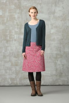 A-line skirt + cardie + tights + mid-calf boots