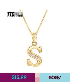 TTstyle 18K White Gold GP Letter F Pendant Necklace With 45//60cm Box Chain