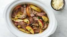 Perfect for fall (or anytime you crave something warm and filling), this tender slow-cooker pork gets its layers of flavor from real maple syrup, apples and herbs.