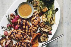 Grilled Asian Chicken with Bok Choy, Shiitake Mushrooms, and Radishes